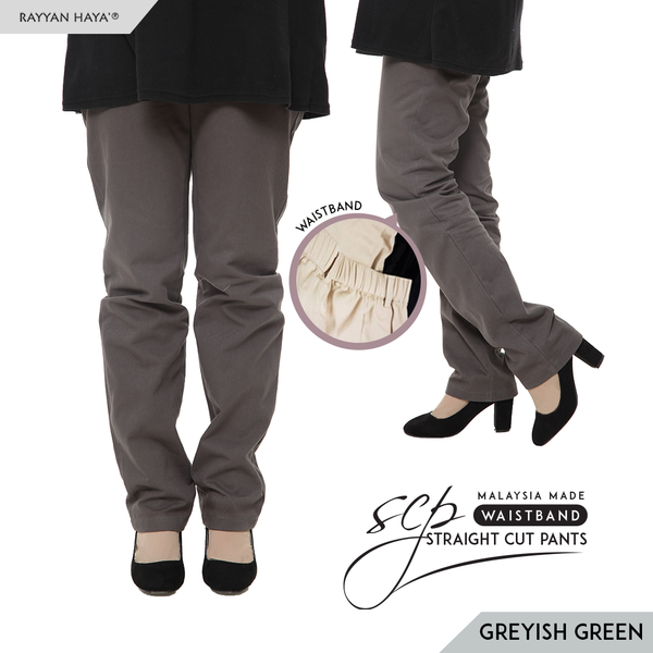 Straight Cut Pants Waistband Malaysia (Greyish Green)
