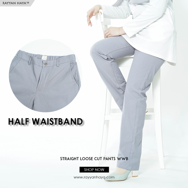 Straight Loose Cut Pants With Waistband (Grey)