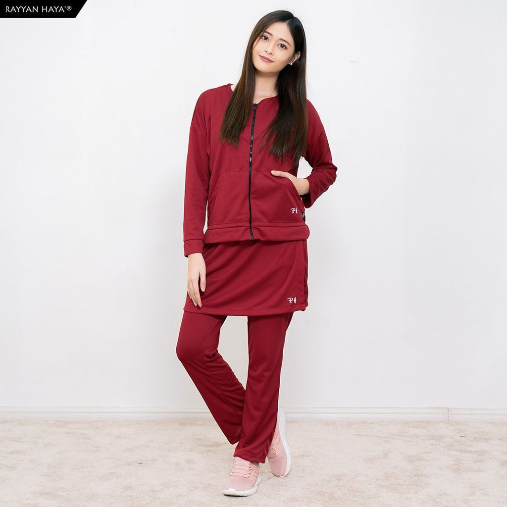 Skirt Pants Kool Fit Set (Maroon)