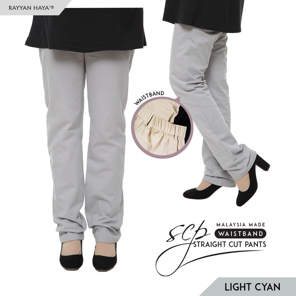 Straight Cut Pants Waistband Malaysia (Light Cyan)