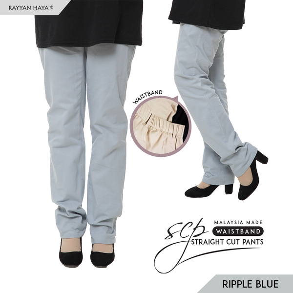 Straight Cut Pants Waistband Malaysia (Ripple Blue)