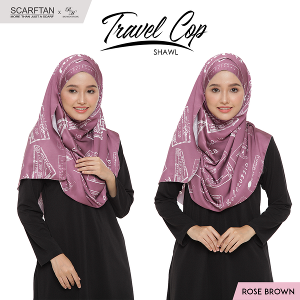 Travel Chop Shawl (Rose Brown)