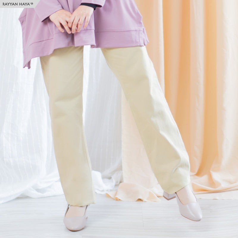 Straight Loose Cut Pants With Waistband 2.0 (Sand)
