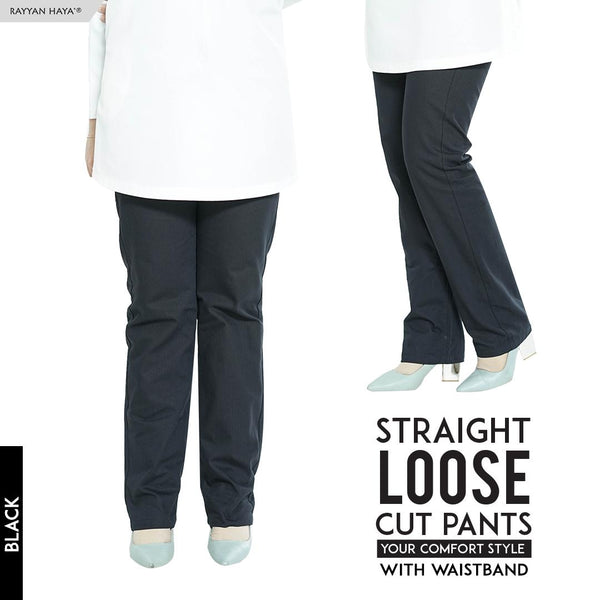 Straight Loose Cut Pants With Waistband (Black)