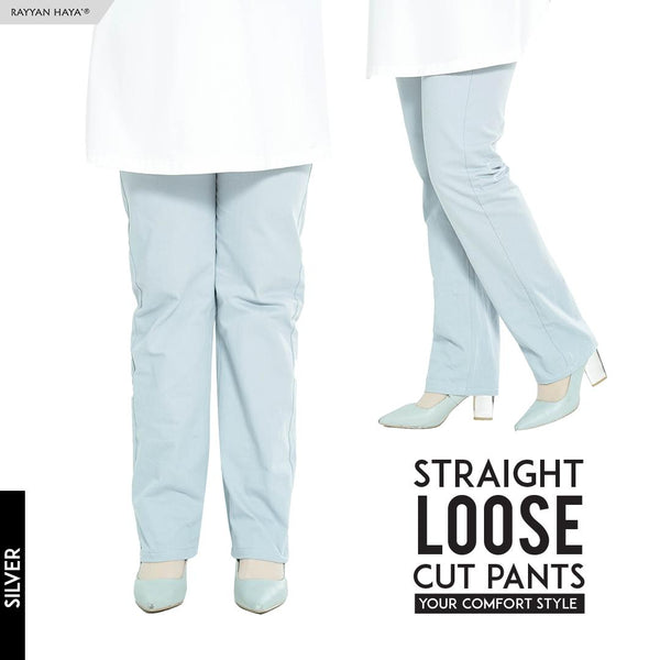 Straight Loose Cut Pants (Silver)