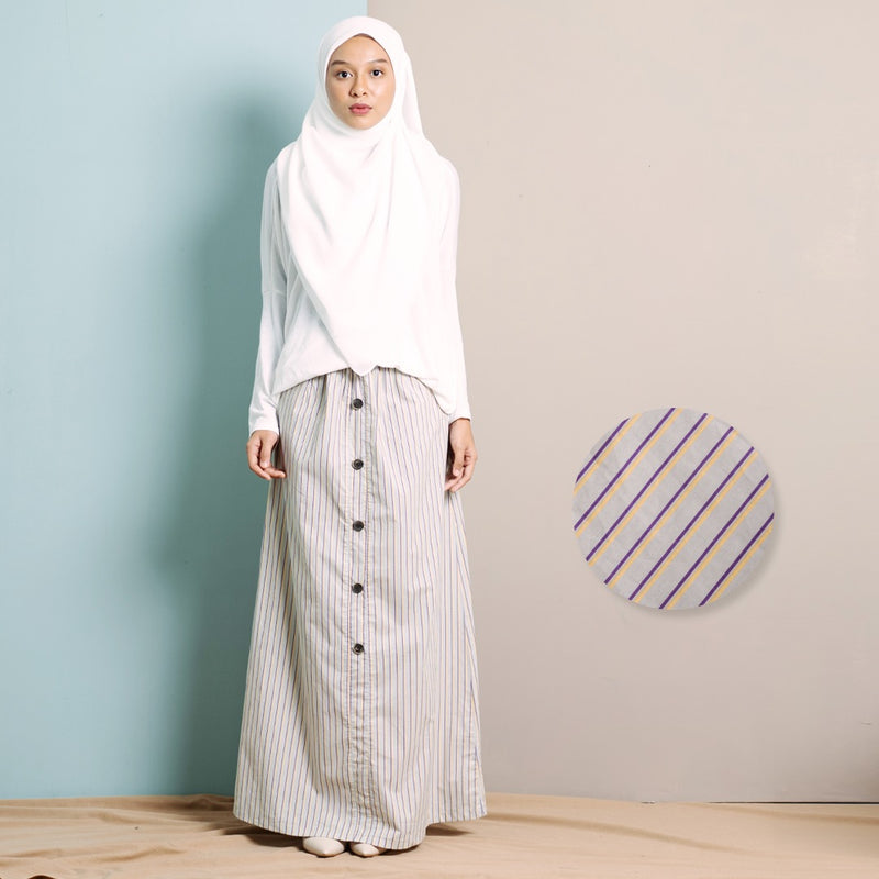 Zhalea Stripe Skirt (Cream)