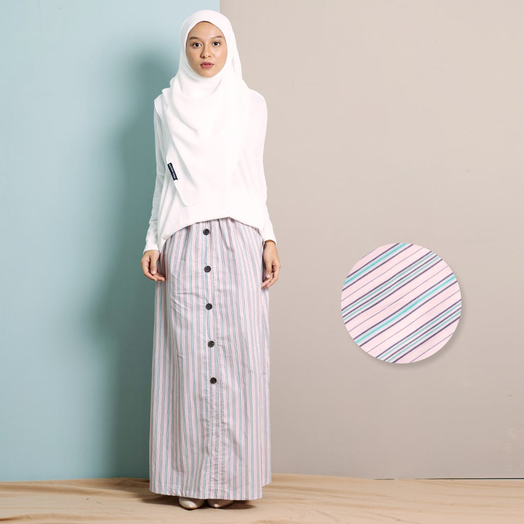 Zhalea Stripe Skirt (Pink)