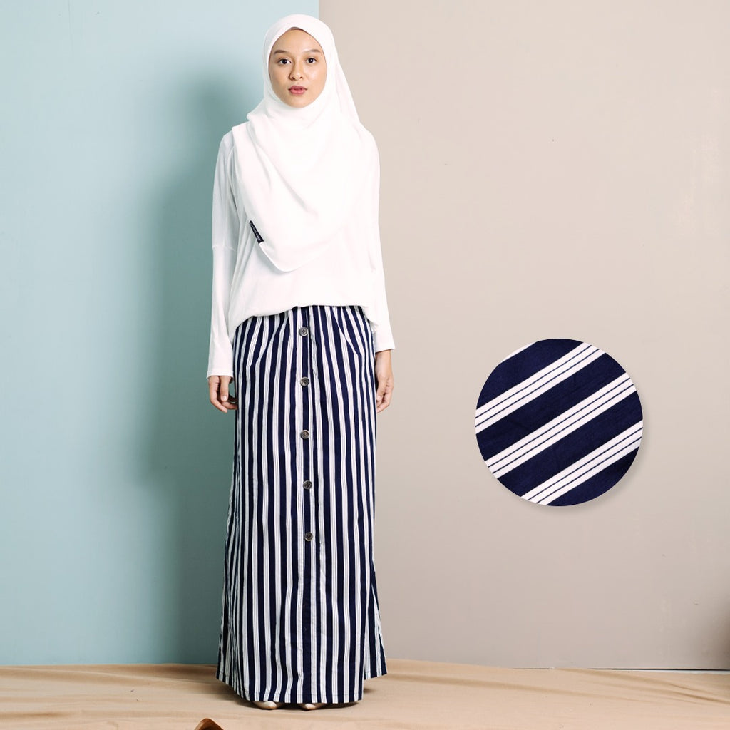 Zhalea Stripe Skirt (Dark Blue)