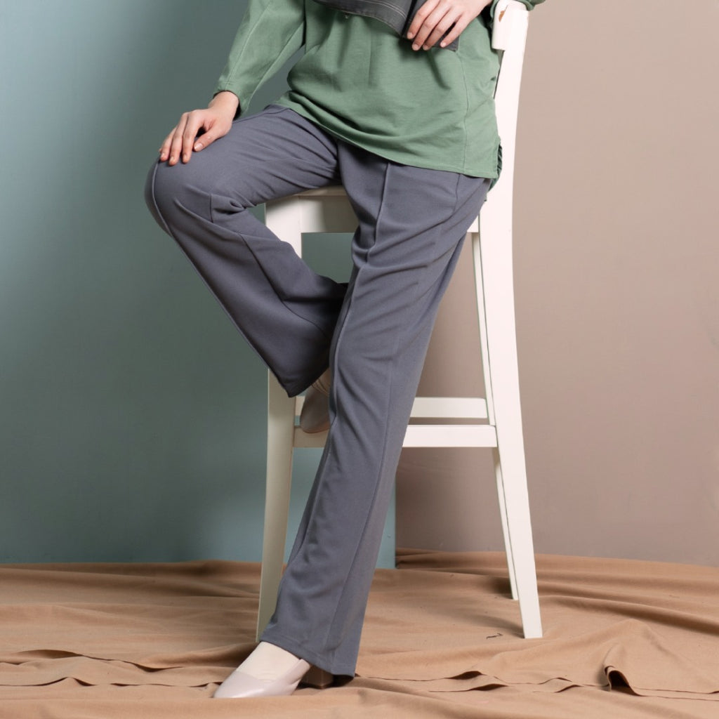 Loose Boot Cut Pants (Blueish Grey)
