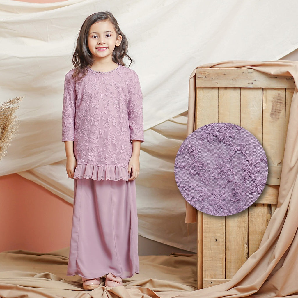 Helena Kurung Kids (Dusty Purple)