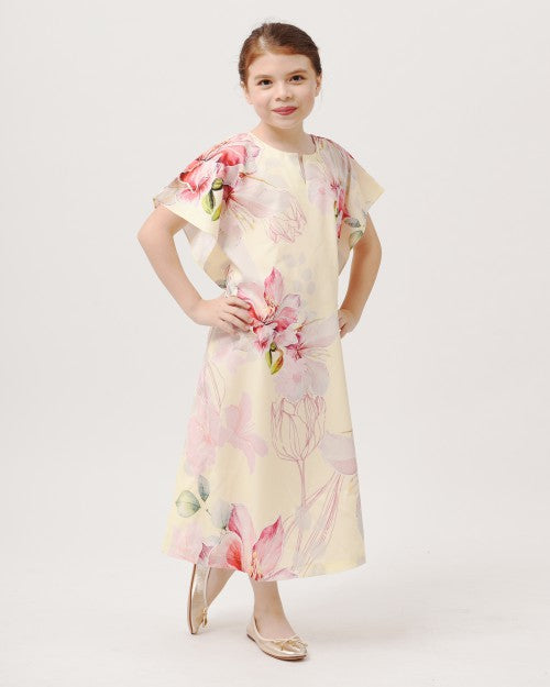 Bougainvillea Kids Kaftan (Soft Yellow)