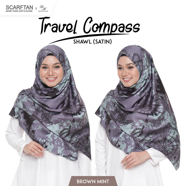 Travel Compass Shawl (Brown Mint)