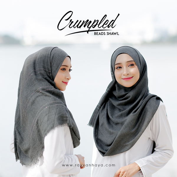 Crumpled Shawl Beads (Dark Grey)