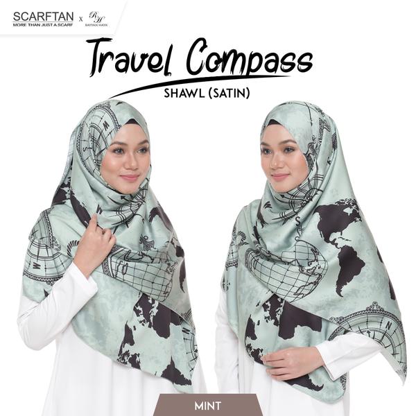 Travel Compass Shawl (Mint)