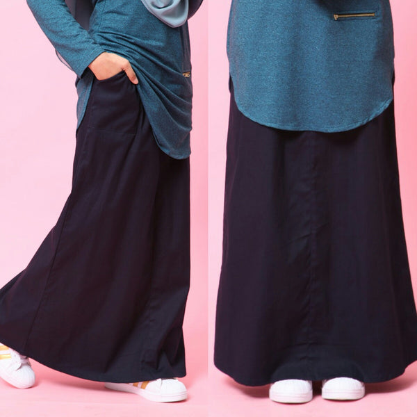 Skirt With Waistband (Blue Black)