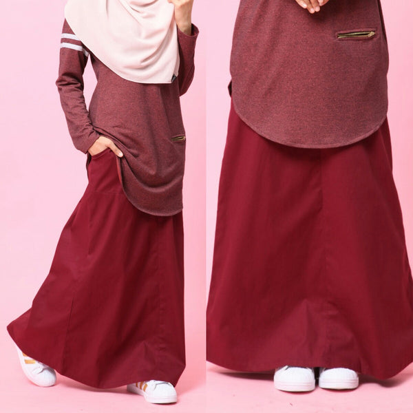 Skirt With Waistband (Maroon)