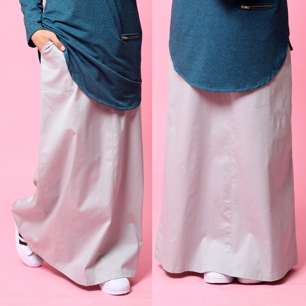 Skirt With Waistband (Silver)