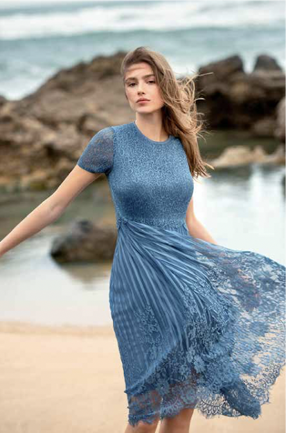 Mid Blue Crush Pleat Dress With Lace skirt.