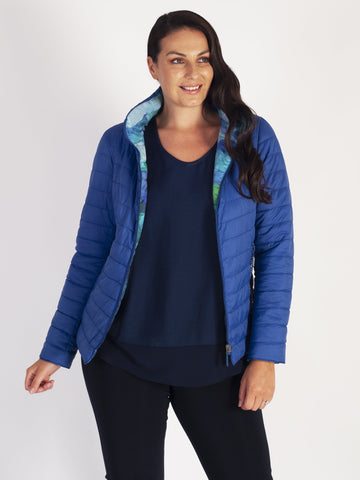 Cobalt Blue & Green Print Short Reversible Diamante Trim Quilted Jacket
