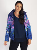 Purple Lined Hibiscus Print Short Reversible Diamante Trim Quilted Jacket