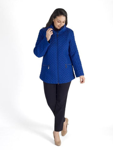 Cobalt Cable Emb Quilt Coat