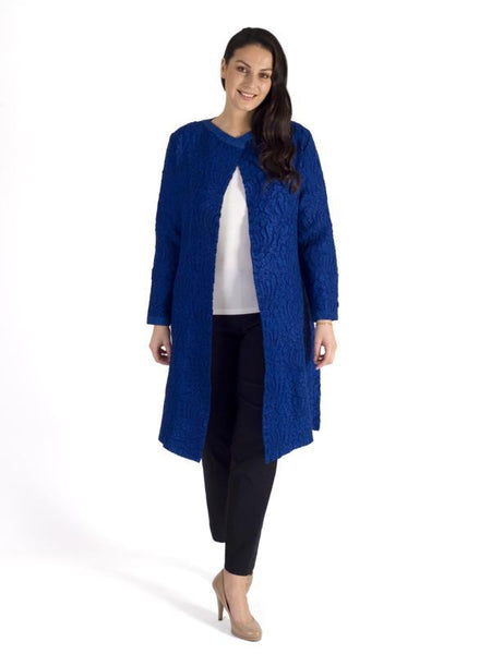 Cobalt Faux suede round neck  Crush Pleat Coat