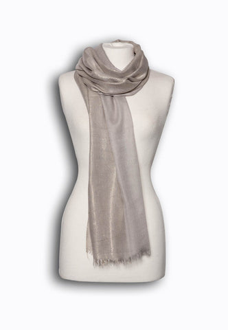Grey All-over Metallic Printed Scarf