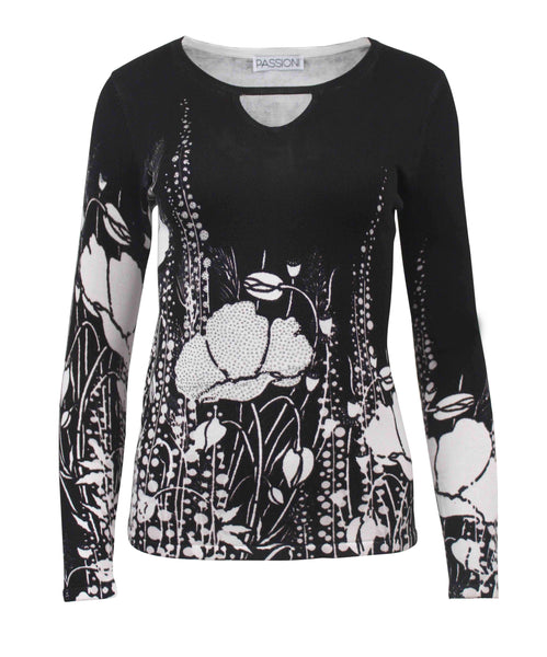 Passioni Black/Ivory Abstract Floral Print Jumper
