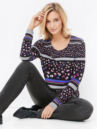 GERRY WEBER Black/Blue Spot & Stripe Printed Long Sleeve Top