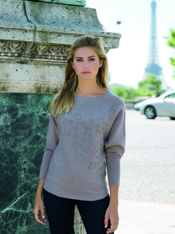 Passioni Taupe Beaded Jumper