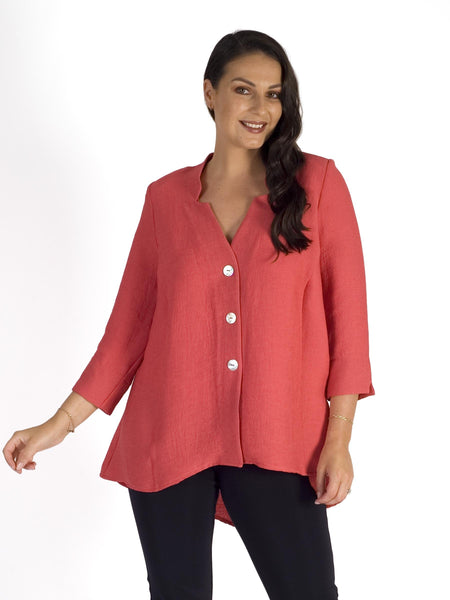 Coral Fine Crinkle Stand Collar Diamond Back Detail Jacket
