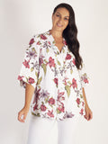 White/Red Multi Floral Notch Neckline Jacket