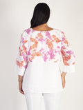 White/Orange Butterfly Print Linen Jacket