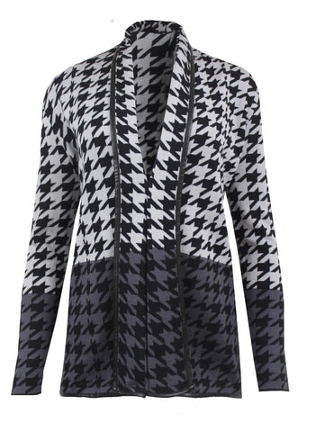 Passioni Grey Houndstooth Printed Cardigan