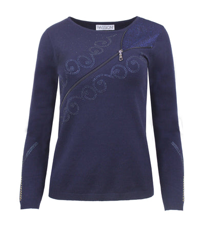 Passioni Navy Zip Detail Jumper