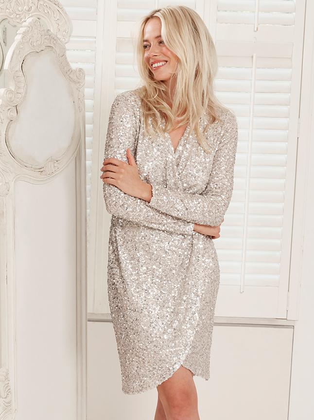 Ginna Bacconi Oyster Sparkle Wrap Dress