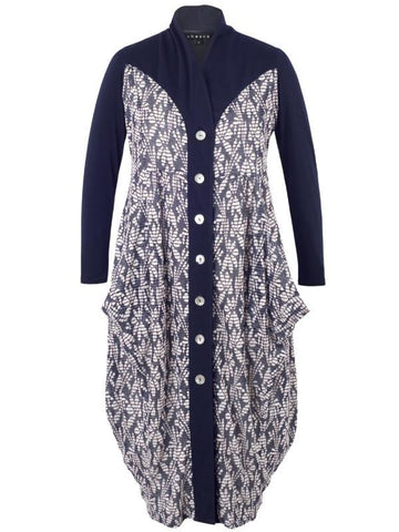 Navy/Ivory Contrast Trim Fancy Daisy Jersey Coat