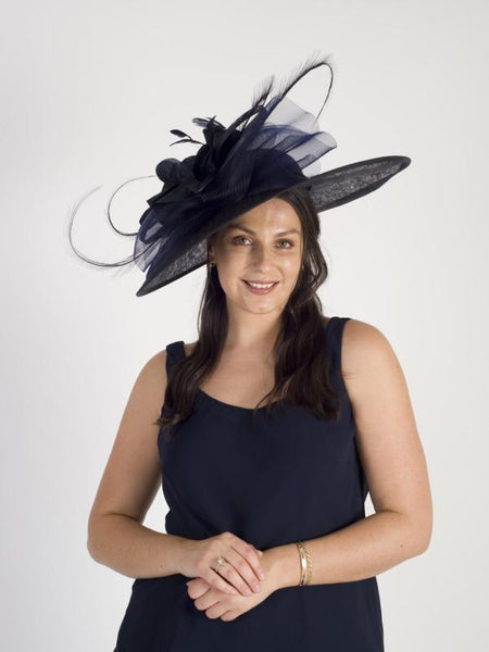 Navy Large Hatinator With Flower, Crin, Feathers & Curls