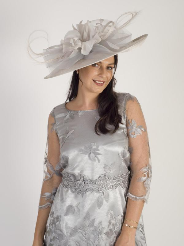 Silver Large Hatinator With Flower, Crin, Feathers & Curls