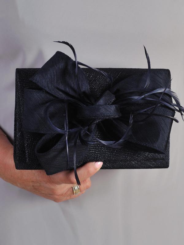Navy Clutch Bag in Sinamay With Bow & Feather Trim