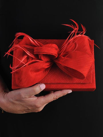 Red Clutch Bag in Sinamay With Bow & Feather Trim