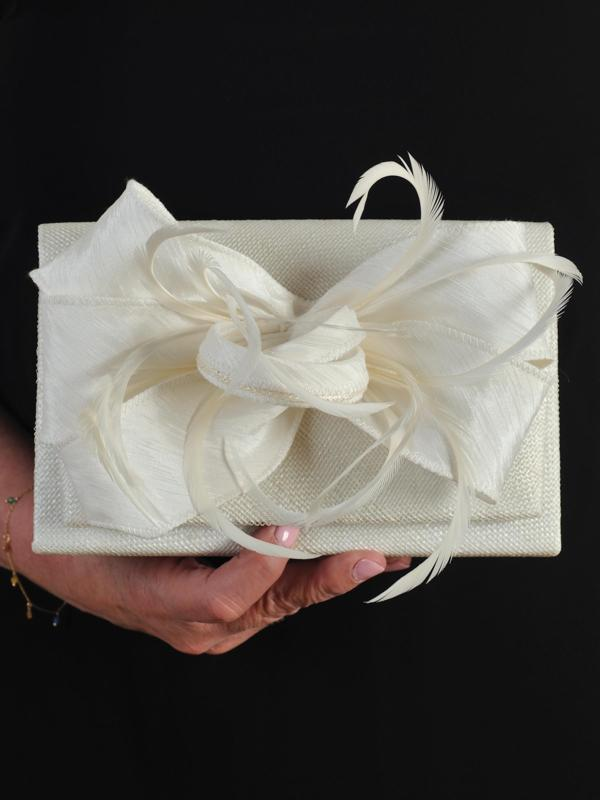 Ivory Clutch Bag in Sinamay With Bow & Feather Trim