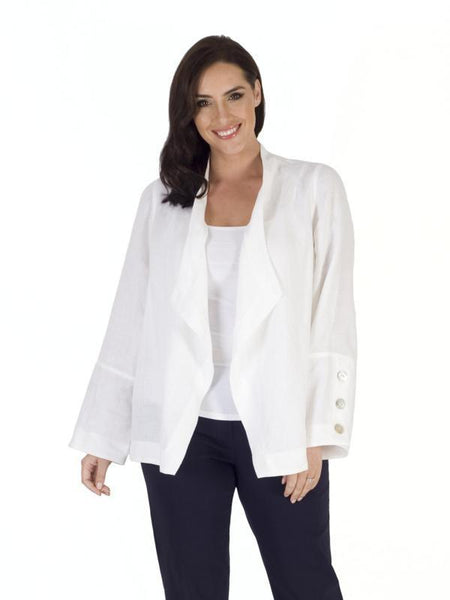 White Button Trim Linen Shrug