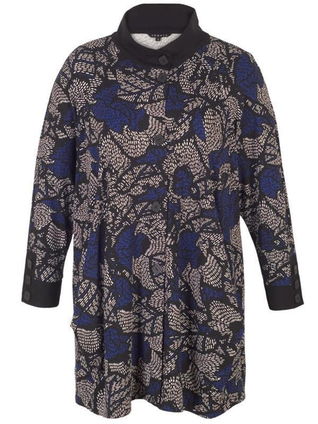 Blue Jersey Printed Coat with Black Trim