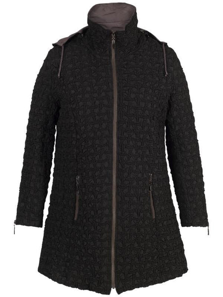 Black Hooded Mini Bonfire Coat with Mink Trim