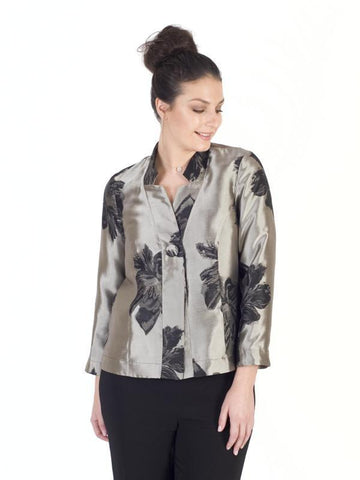 Gold/black 2-Tone Floral Jacquard Jacket
