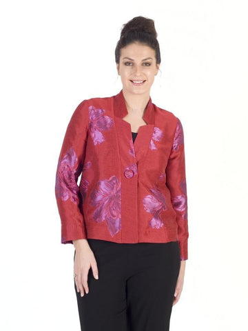 Hot Pink/Red 2-Tone Floral Jacquard Jacket