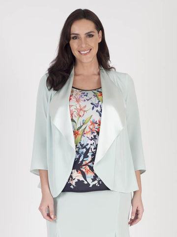 Aqua Border Floral Print and Satin Back Crepe Shrug