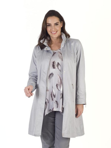 Silver Grey Ruched Collar Zip Detail Pearlised Coat