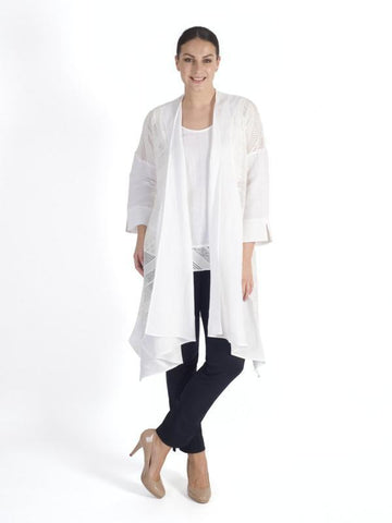 White Squares & Stripe Mesh Trim and Linen Coat
